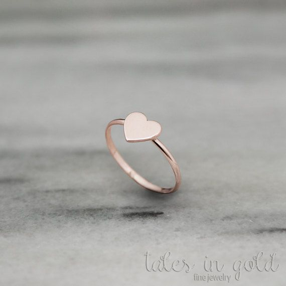 Rose Gold Heart Ring Tiny Heart Ring 14K Gold Ring Rose Gold