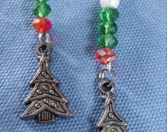 Check out Spring Sale Silver Christmas tree charm Bead Earring,drop earring,dangle earring,Christmas earring on dawnsbeadsdesigns