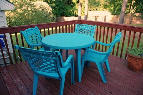 How To Spray Paint Old Plastic Deck Patio Furniture #valspar #blue