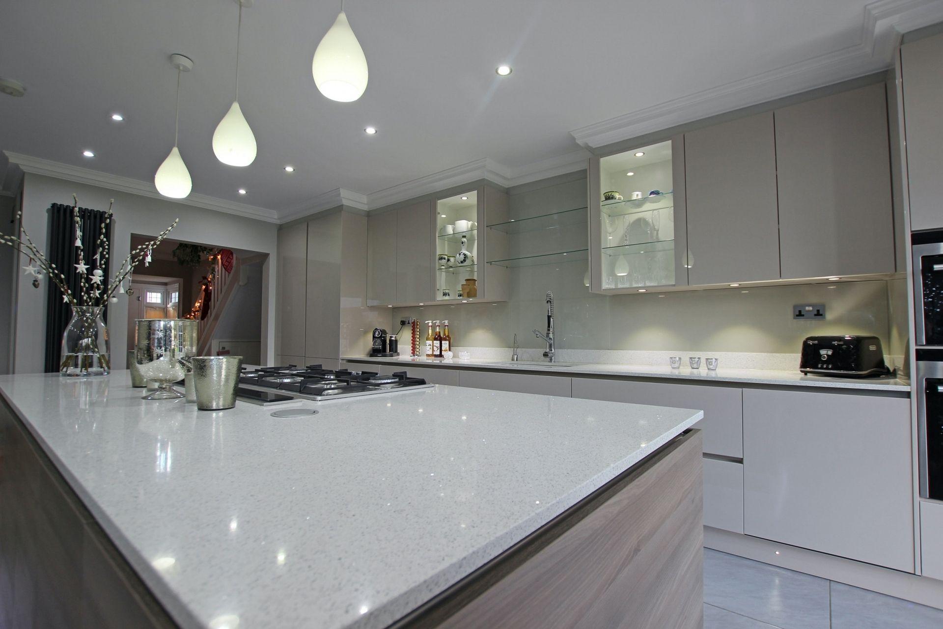 Floating Kitchen Island Design from LWK Kitchens