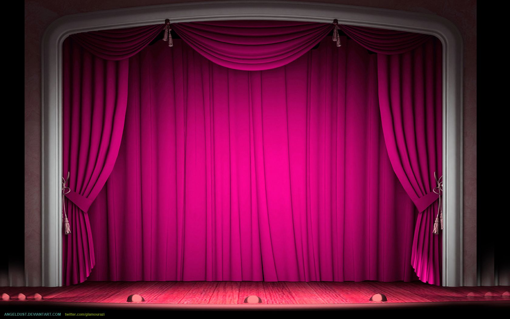 Decor Stage Red Curtains With Gold Tie Backs