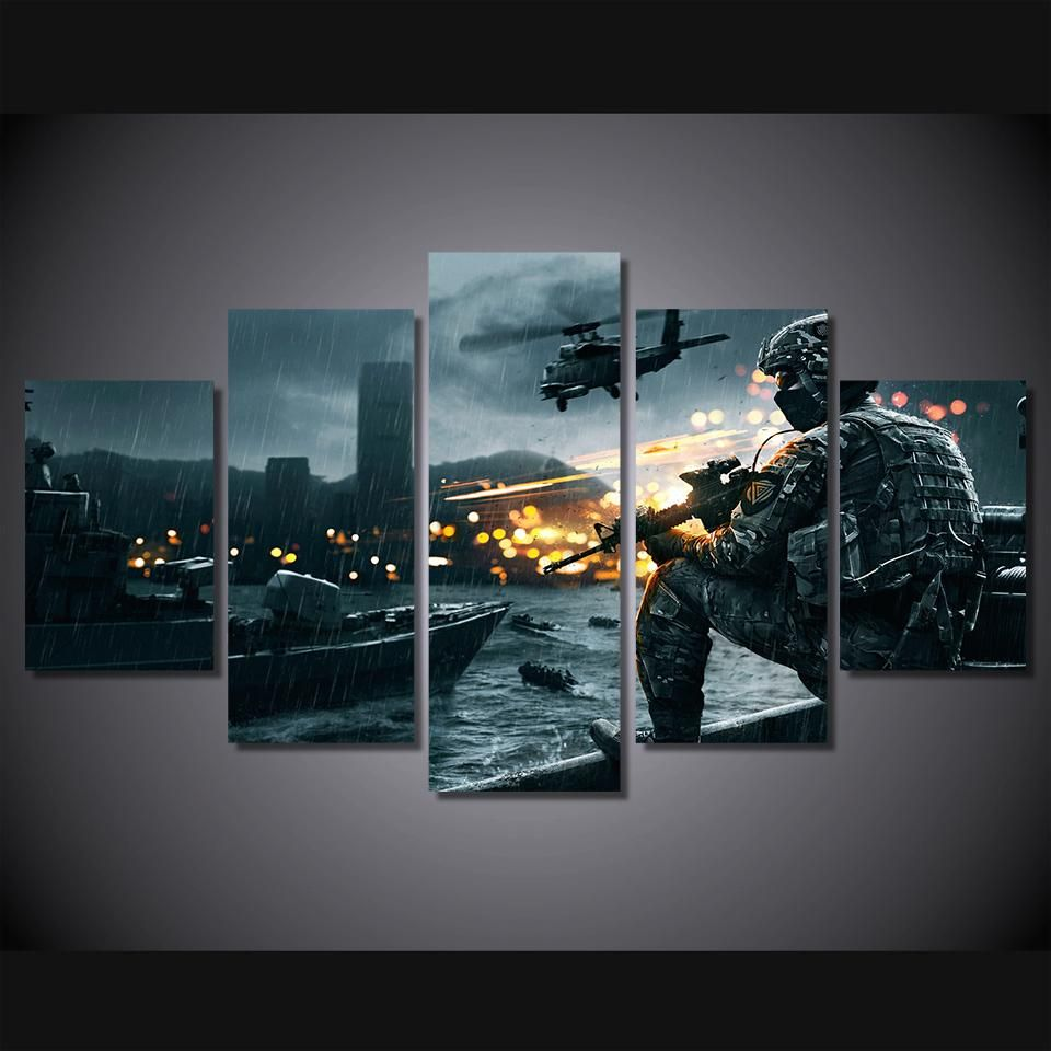 Battlefield Scene Helicopter Soldier Military Canvas Wall Art Print 5 Panel Printed In Hd Large 64 In Canvas Art Wall Decor Canvas Wall Art Wall Art Prints