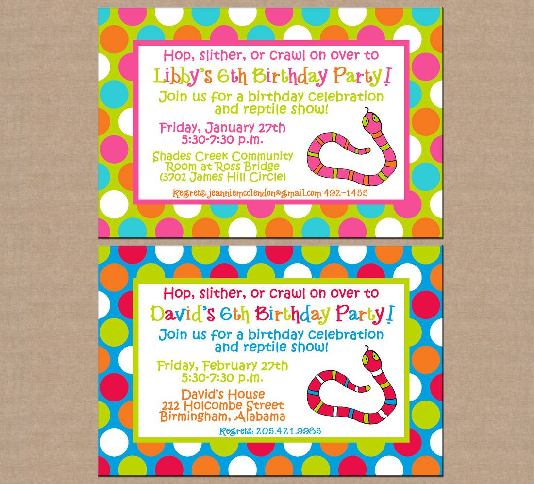 12 Personalized Printed Boy OR Girl Reptile Snake Birthday – Reptile Invitations Birthday