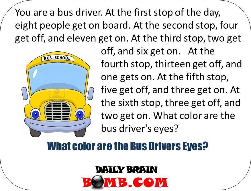 What Color Are The Bus Drivers Eyes Click Photo To Get The