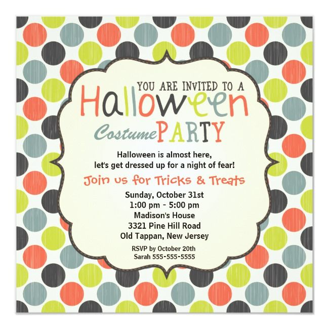 Halloween Costume Party Colorful and Fun Invitation |  Halloween Costume Party Colorful and Fun Invitation