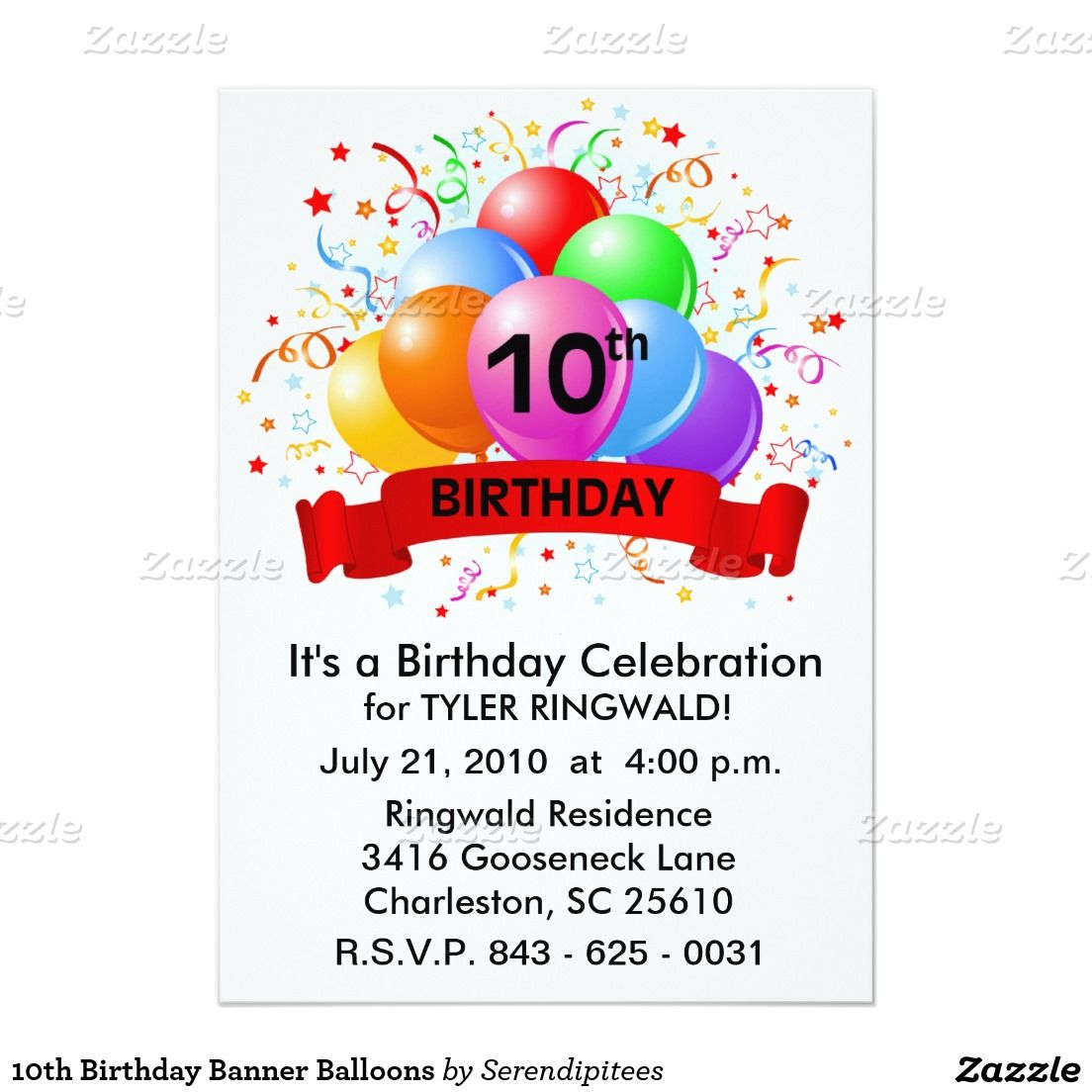 10th birthday banner balloons invitation pinterest balloon 10th birthday banner balloons 13 cm x 18 cm invitation card filmwisefo
