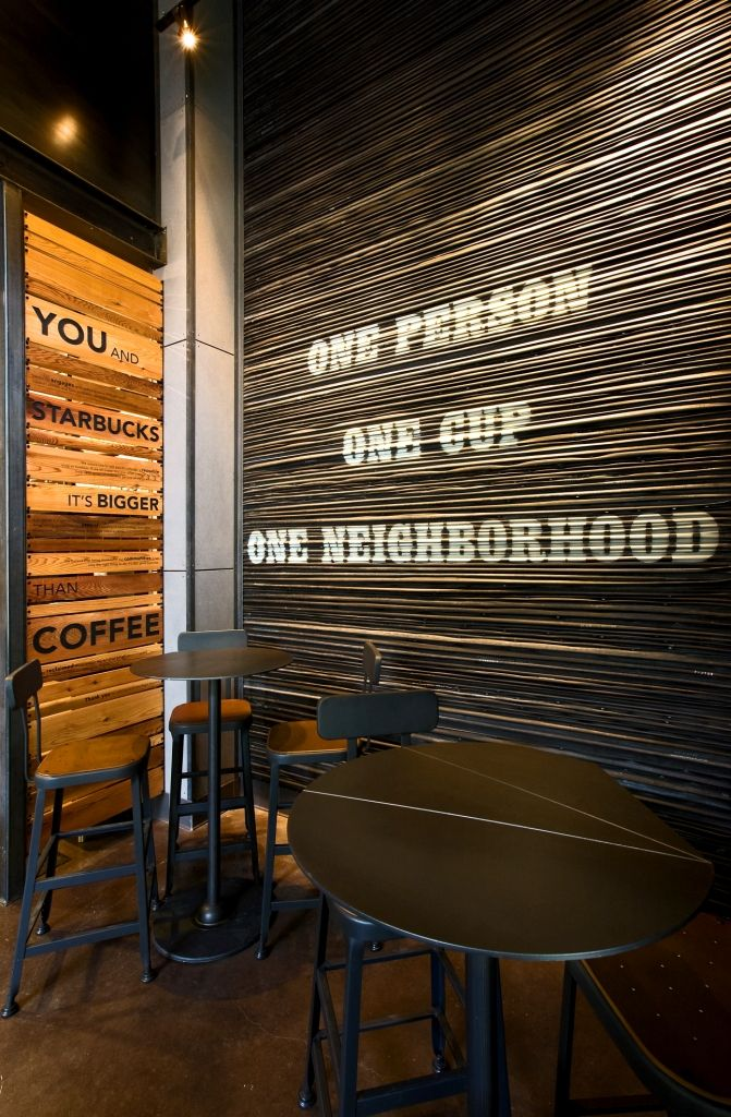 A wall in the Starbucks store in the Pearl District of Portland, Oregon is constructed with used bicycle tire tubes.
