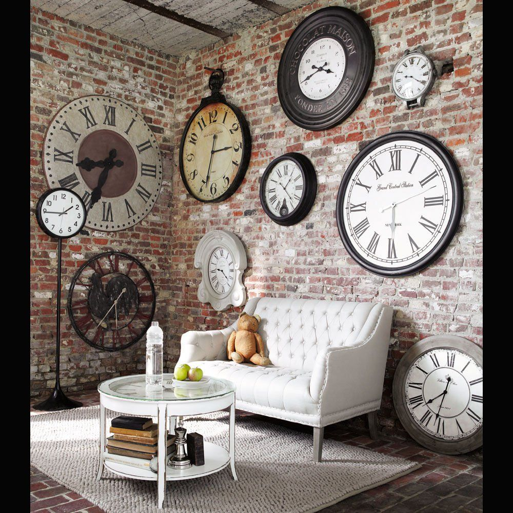 Decorative Wall Clocks For Living Room Industrial Chic Wall Full Of Clocks Home Decor Pinterest
