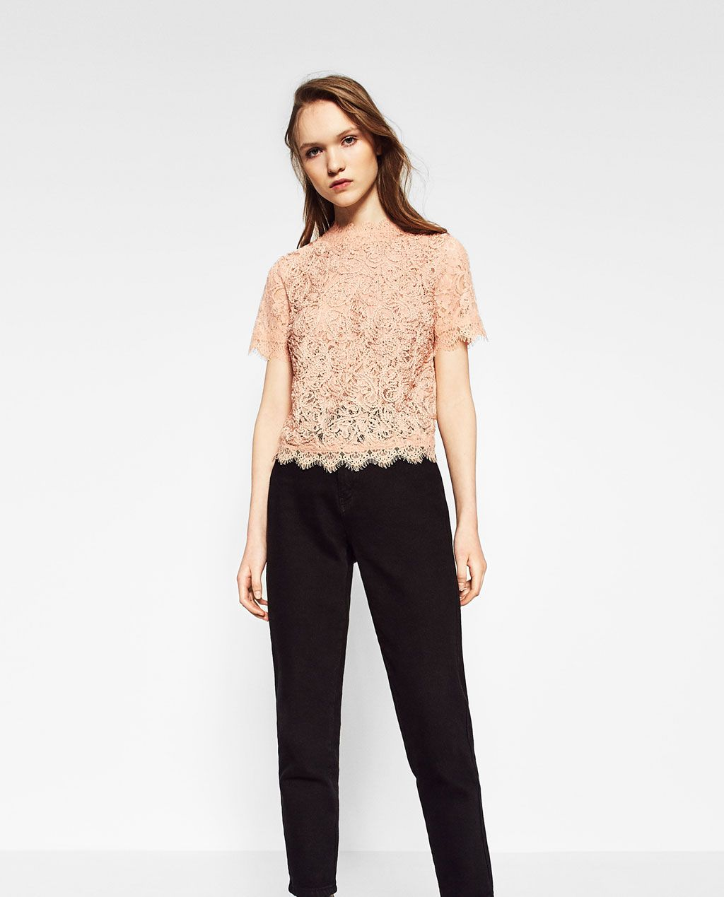 Image of embroidered lace t shirt from zara
