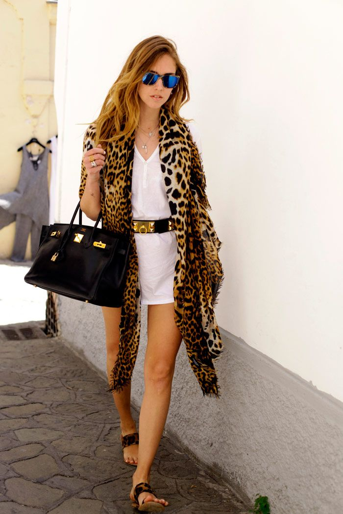 Chiara Ferragni The Blonde Salad In Giacomorelli Leopard Sandals Yamamay White Dress Hermes Collier De Chien Belt Visionwood Sunnies
