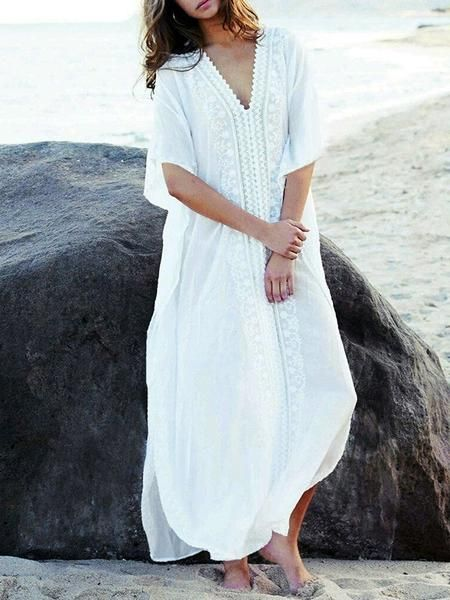 091f933b86 Sku CY-!20162 Material Polyester Seasons Spring , Summer Type Maxi Dresses  , Cover-Ups Swimwear Color WHITE Size FREE SIZE Size chart: Please consult  the ...