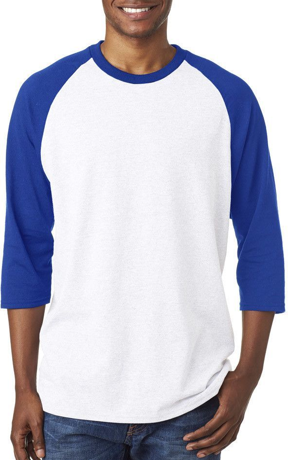 113e3b5a gildan(R) heavy cotton? adult 3/4-sleeve raglan t-shirt - white / royal (s)