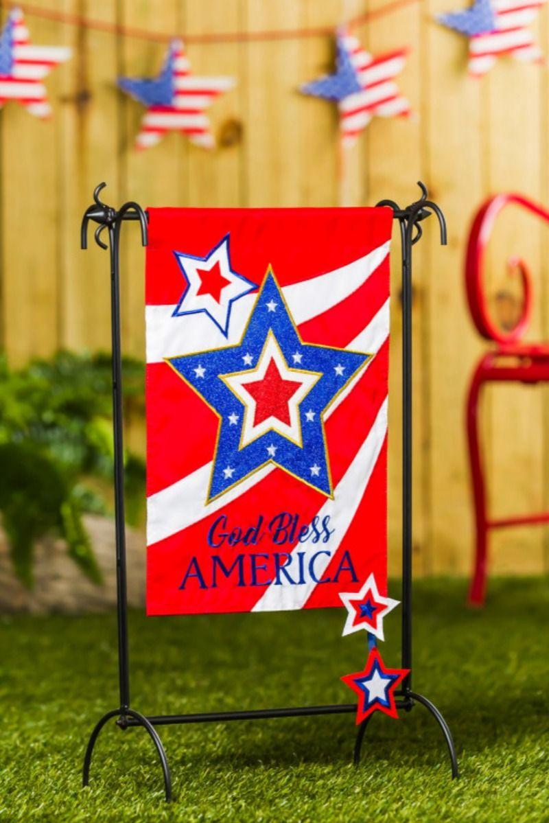 God Bless America Star Applique Garden Flag In 2020 God Bless America Blessed Patriotic Decorations