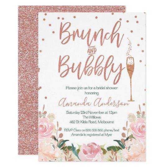 Rose Gold Brunch Bubbly Bridal Shower Invitations | Zazzle.com