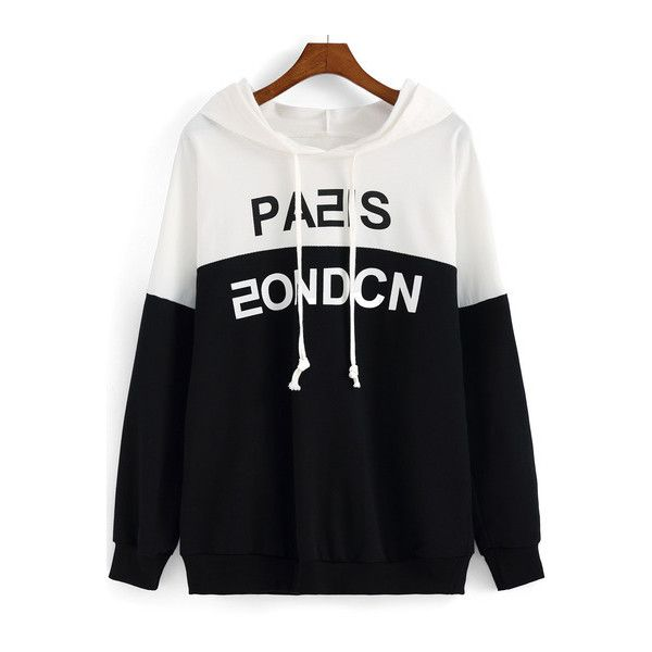 SheIn(sheinside) Colour-block Hooded Letters Print Loose Sweatshirt (49.690 COP) ❤ liked on Polyvore featuring tops, hoodies, sweatshirts, multicolor, hooded sweatshirt, pullover hoodies, black hooded sweatshirt, black pullover hoodie and black hoodie pullover