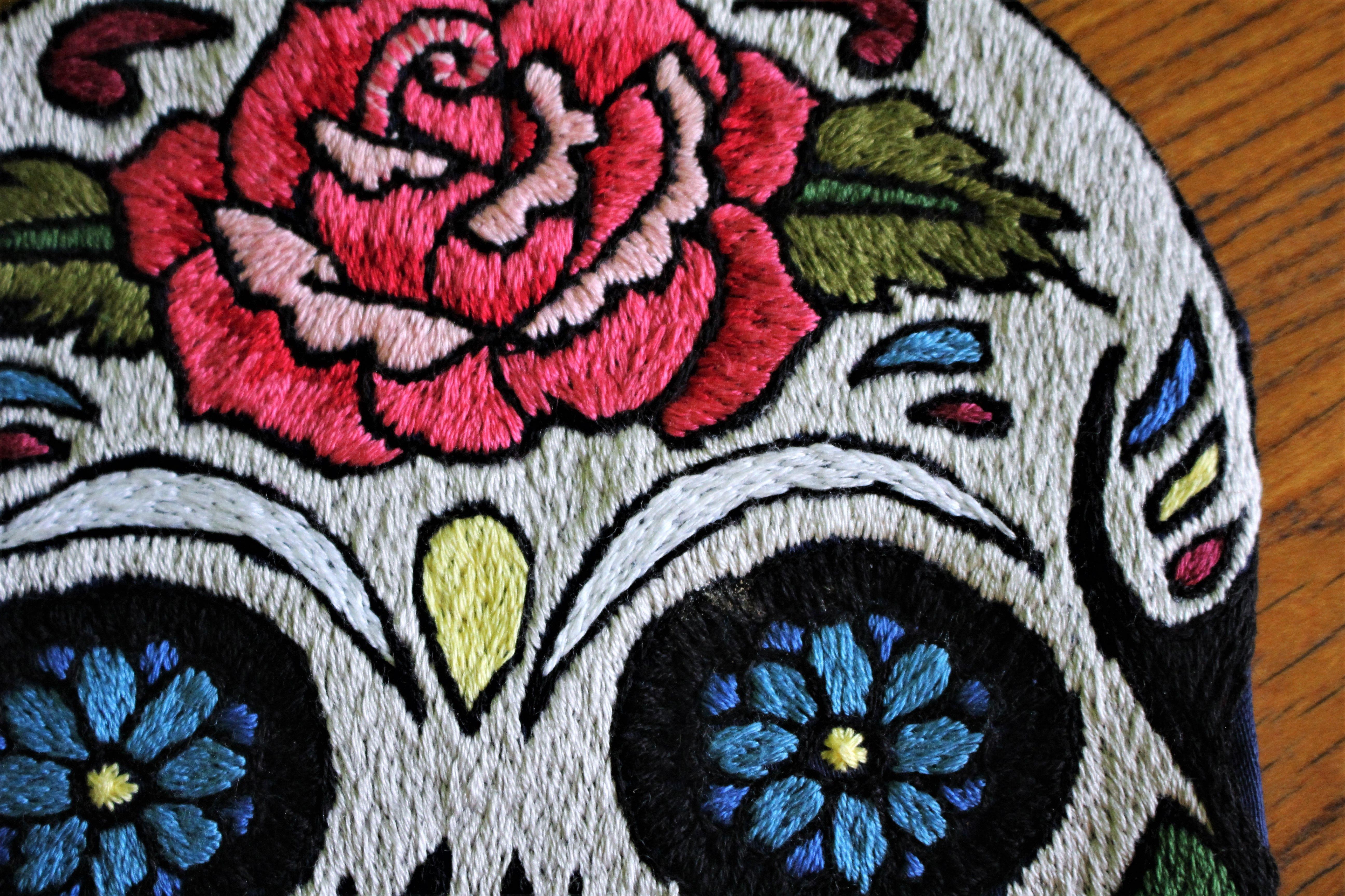 Oldschool Tattoo Design Embroidery Handmade Sugar Skull Old School Tattoo Designs Handmade Crafts Old School Tattoo