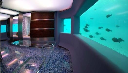The interior of these underwater spa rooms reflect what can be viewed through the glass.    via PSFK: http://www.psfk.com/2012/04/underwater-spa.html#ixzz1qxpUol9R