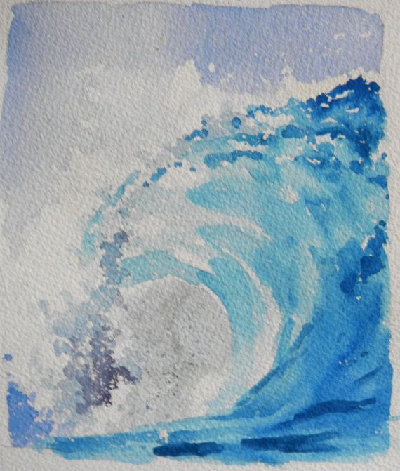 Original Watercolor Landscape Big Curl Wave By Willspencerstudio