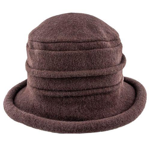 9657d852b65 Genevra - Scala LW399 Walnut Crushable Boiled Wool Cloche Hat ...