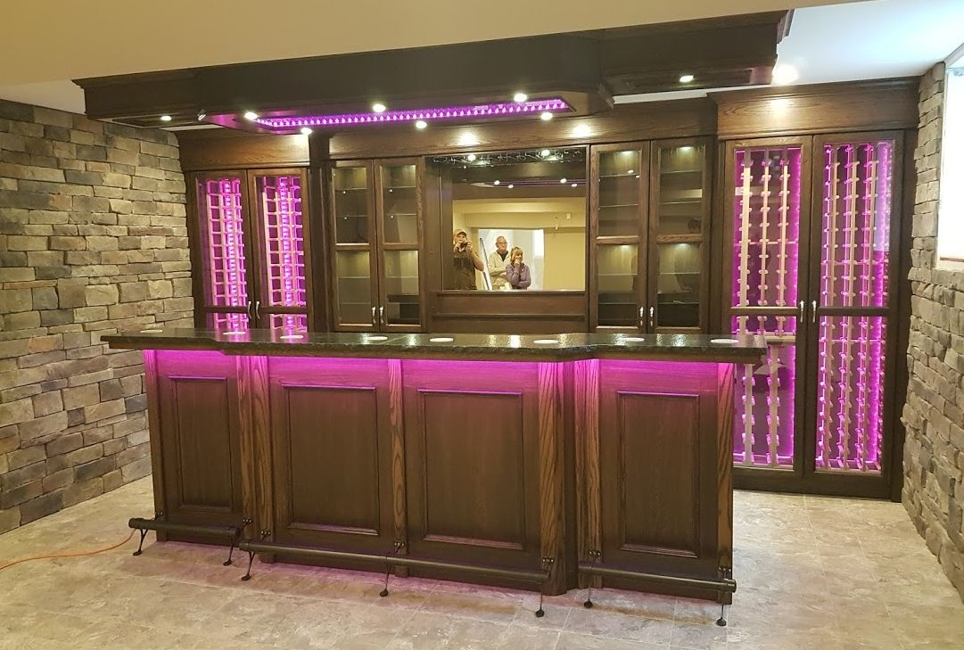 Oak Contemporary Home Bar With Oil Rubbed Bronze Footrail