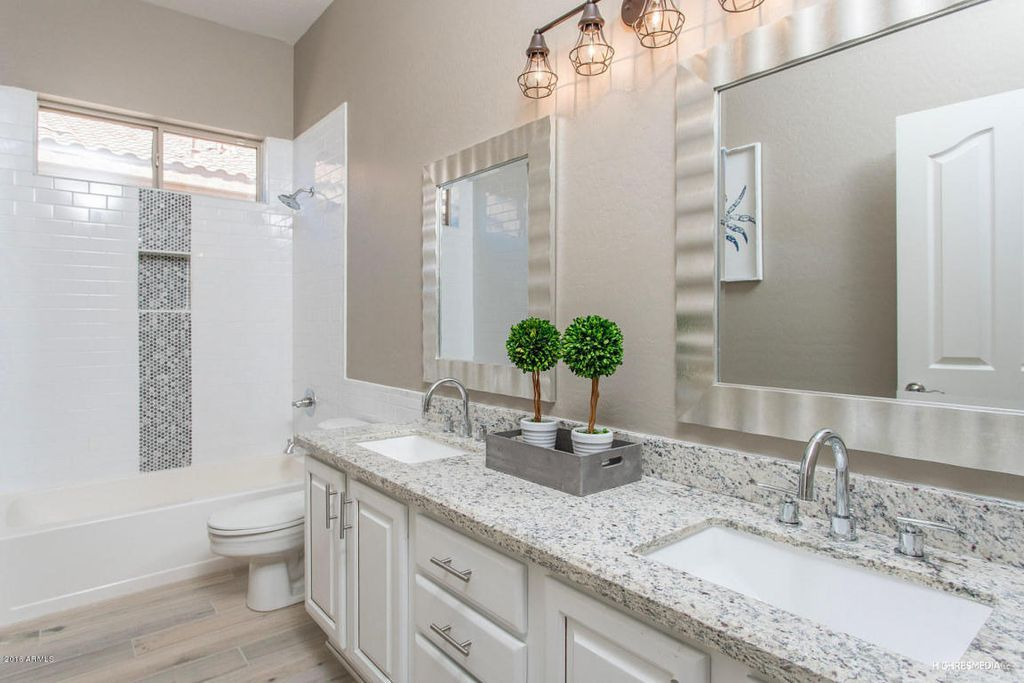 Transitional Full Bathroom With Luna Pearl Granite Countertop