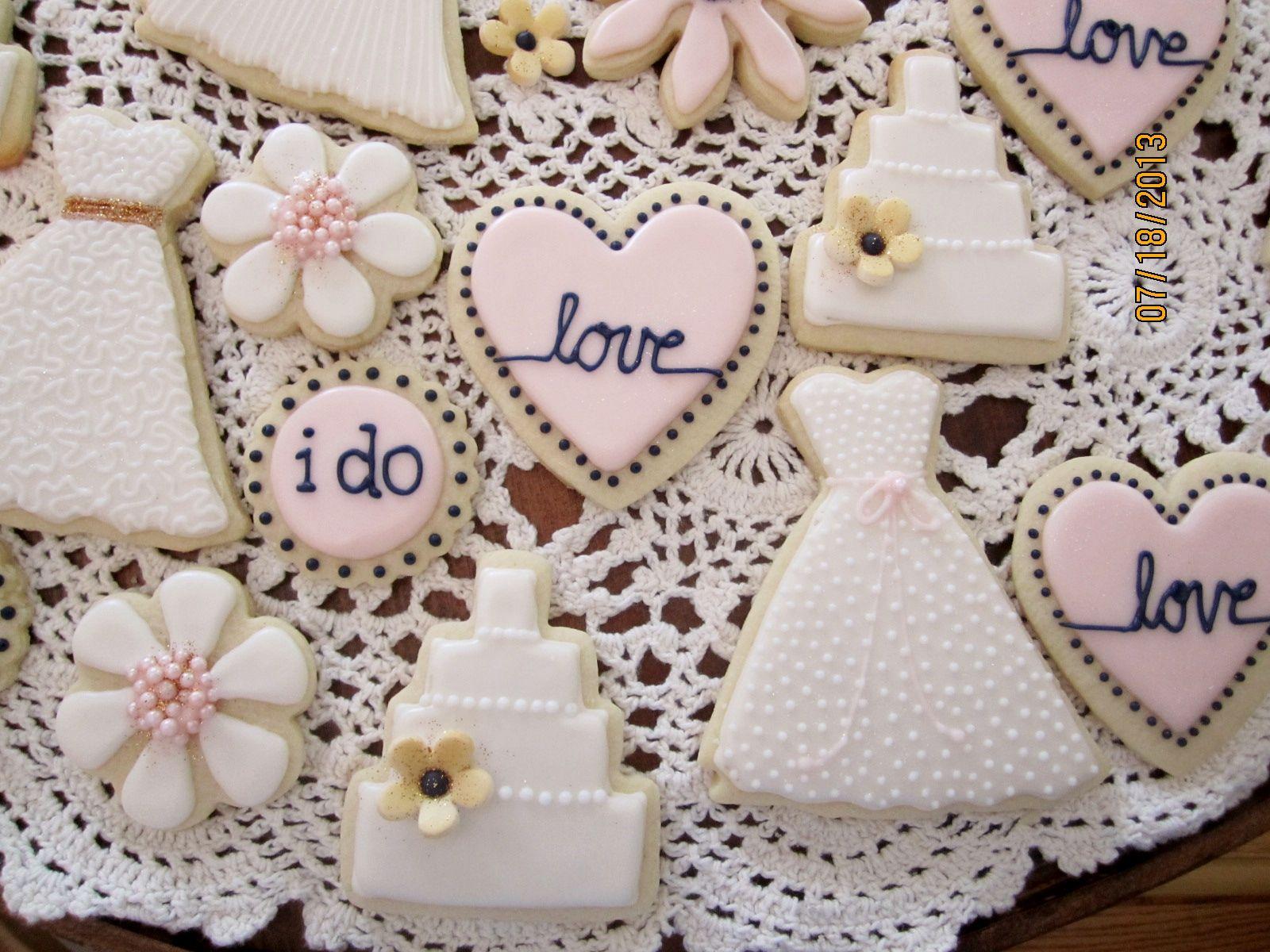 bridal shower cookies. Ivory, blush, navy and metallic