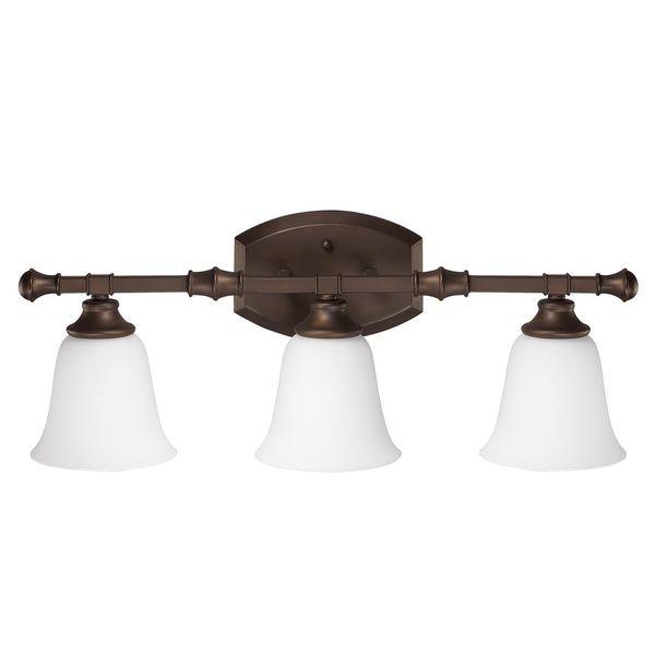 f Belmont Burnished Bronze Three Light Bath Vanity with Soft White Glass by Capital Lighting Fixture pany - 3 light bathroom fixture