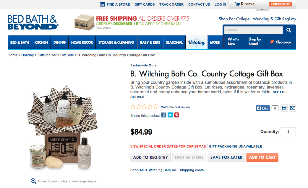Premium Gift Sets from Bed Bath and Beyond http//www