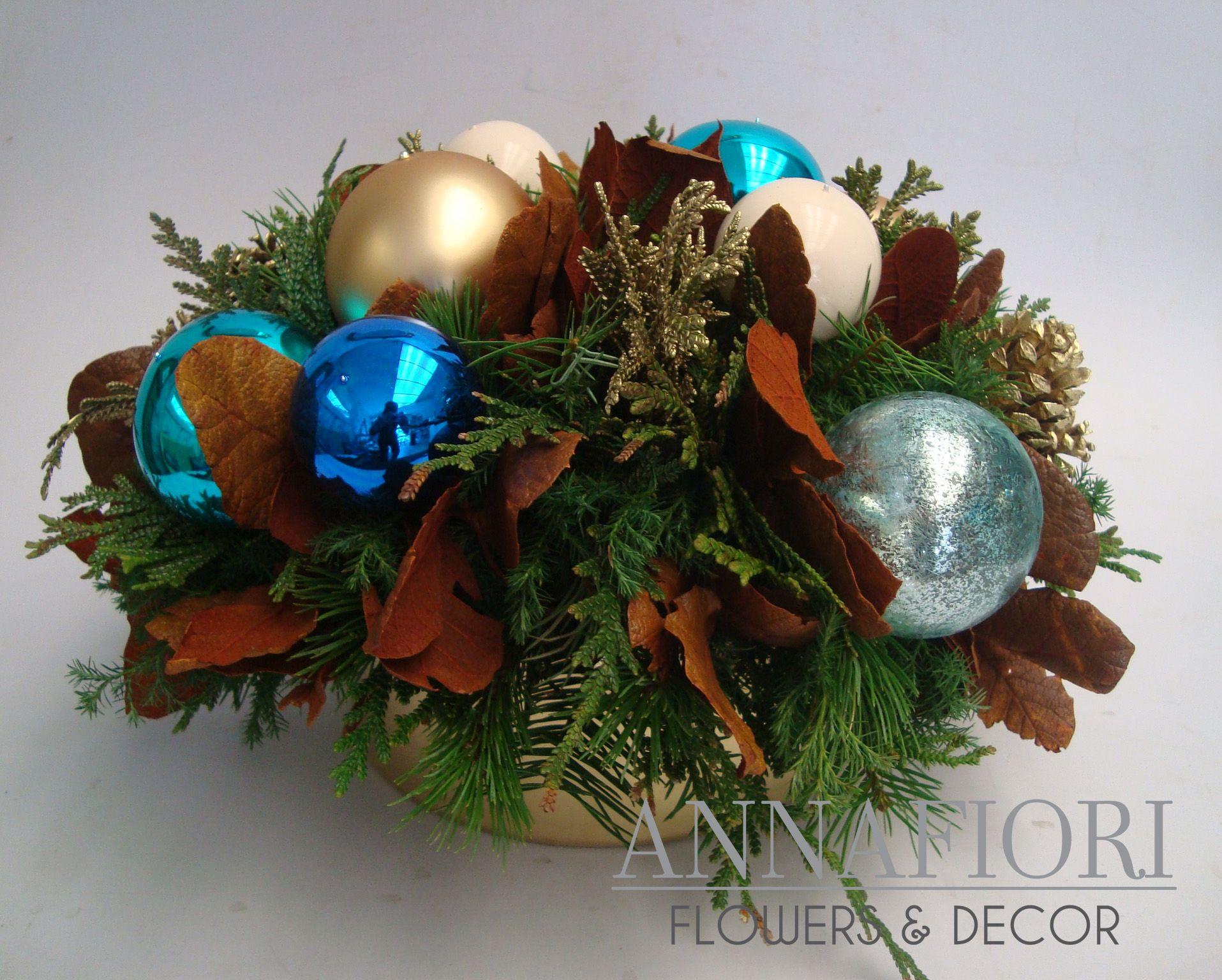 Arreglo floral centro de mesa rustico navide o annafiori - Centros de mesas navidenos ...