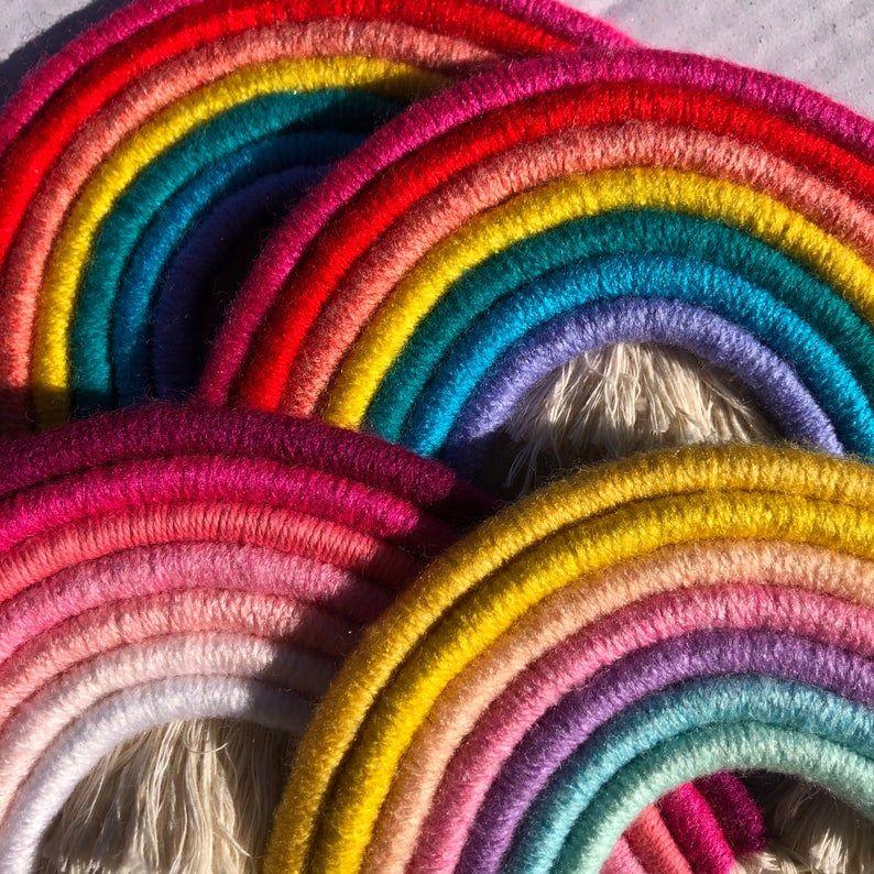 UNICORN Boho, fibre, macrame rainbow wall hanging