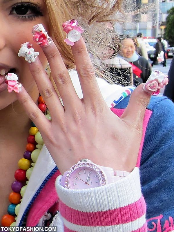 Japanese 3d nail art in pink and white. #nails #nailart #manicure ...