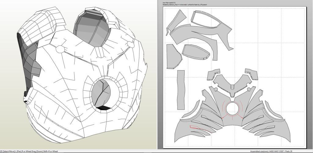 iron man suit template - papercraft pdo file template for iron man mk iii full