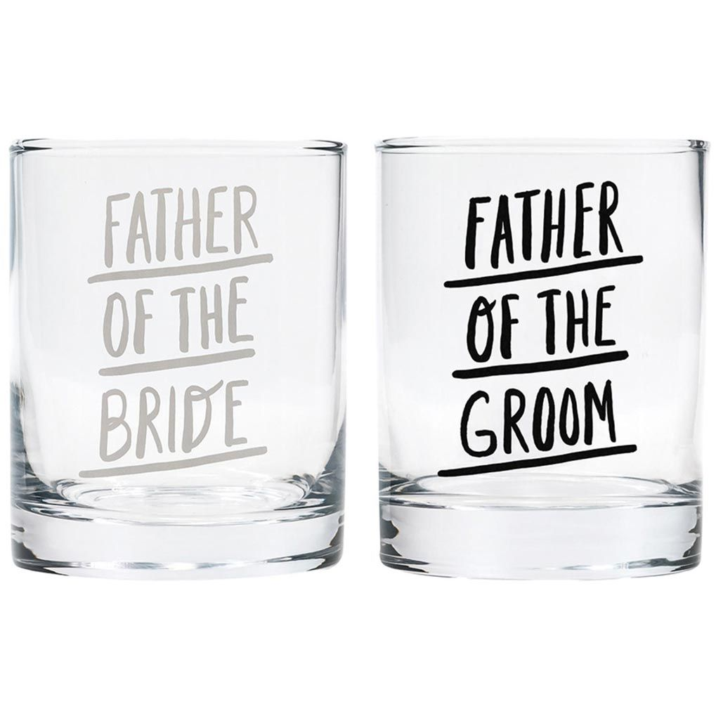 Father of the bride and groom old fashioned glasses by