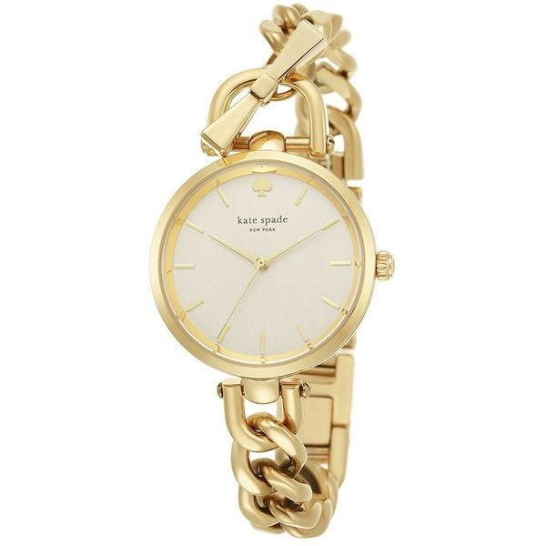 Kate Spade New York Holland Goldtone Stainless Steel Toggle Bracelet... ($235) ❤ liked on Polyvore featuring jewelry, watches, apparel & accessories, gold, wristwatches, mens wrist watch, stainless steel jewelry and water resistant watches