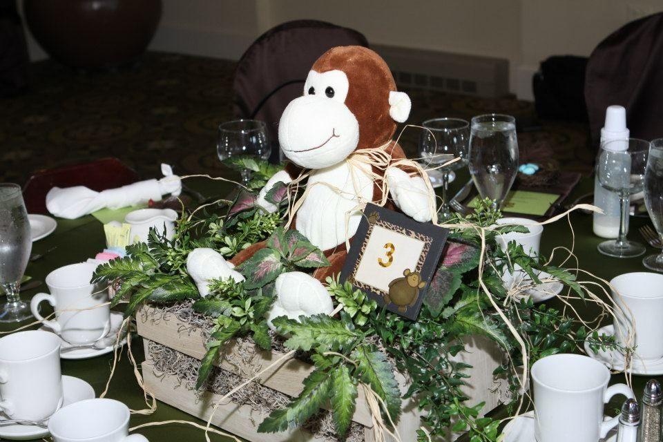 Monkey centerpiece  Party Planner: Your Moments, Inc Safari Baptism/ christening theme