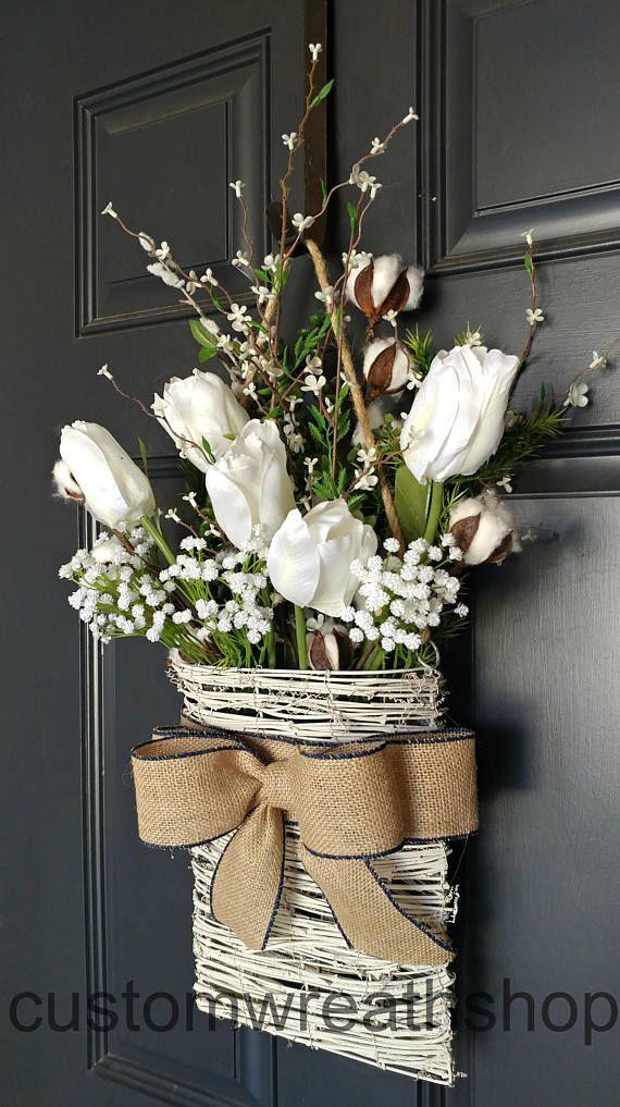 Photo of Cotton Wreath, Farmhouse Wall Decor, Tulip Wreath, Front Door Basket, Rustic Decor, Mother's Day, Wreath Alternative, Flower Basket, Etsy Wreaths