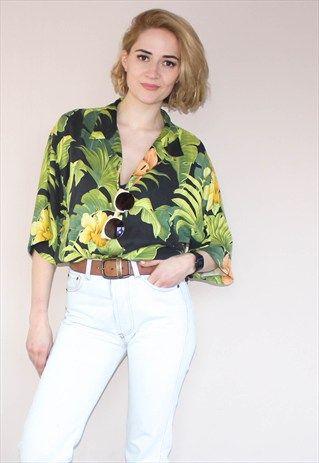 d03e89b15 Vintage+90's+Silk+Tropical+Hawaiian++Shirt | Hawaiian Tops Women in ...