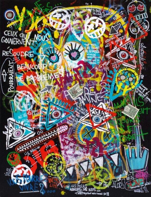 Système (Peinture),  81x5x116 cm par Olivier PIOCH Acrylique, pastel a l'huile,  spray graff, vernis. billet de 1 $ et pièce de 1 €.  tableau pour dénoncer le mépris du système et son incapacité a faire de l'humanité , un monde meilleur...