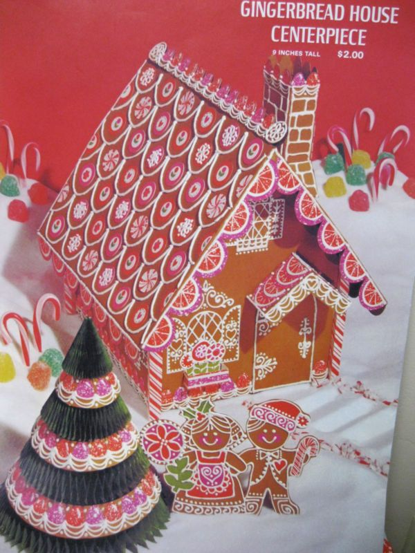 Vtg Hallmark Gingerbread House/Honeycomb Christmas Tree Party