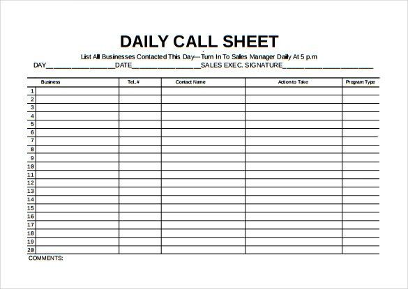 Call Sheet Template  Free Word Pdf Documents Download Template