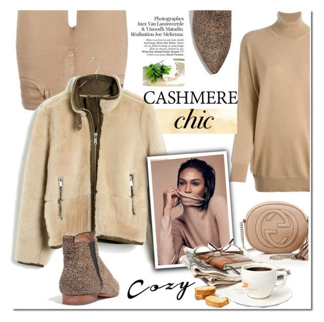 """""""cozy casual in cashmere"""" by katymill ❤ liked on Polyvore featuring AG Adriano Goldschmied, Gucci, Madewell, cashmere, cozychic and casualtrend"""