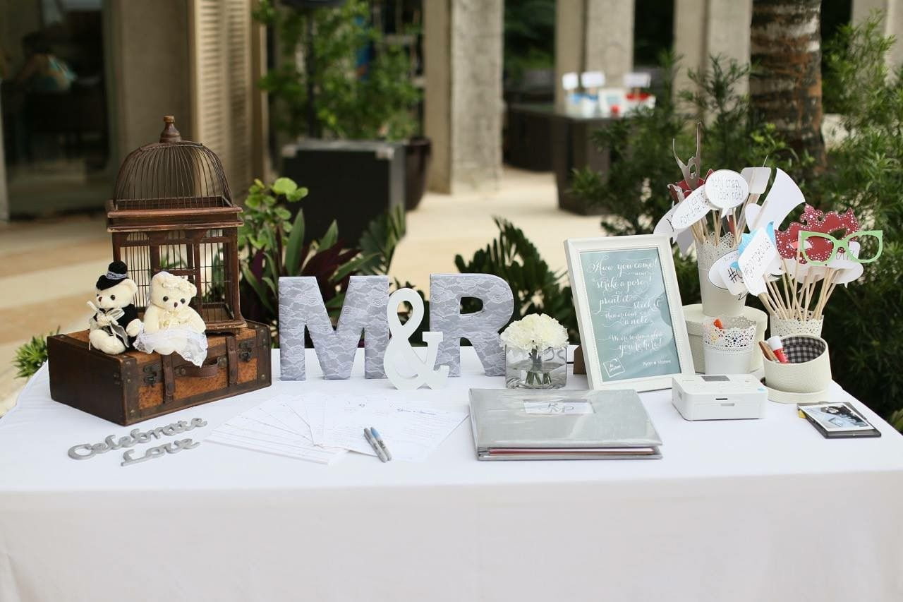 Registration table styling by boracay weddings for Wedding ceremony table decorations