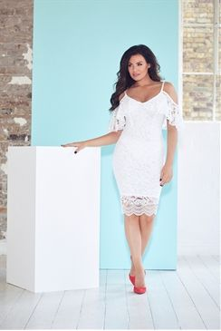7bf561e79b Jessica Wright Saydee White Lace Cold Shoulder Bodycon Dress. Lipsy Off  Shoulder Bodycon Dress with Frill Detail ...