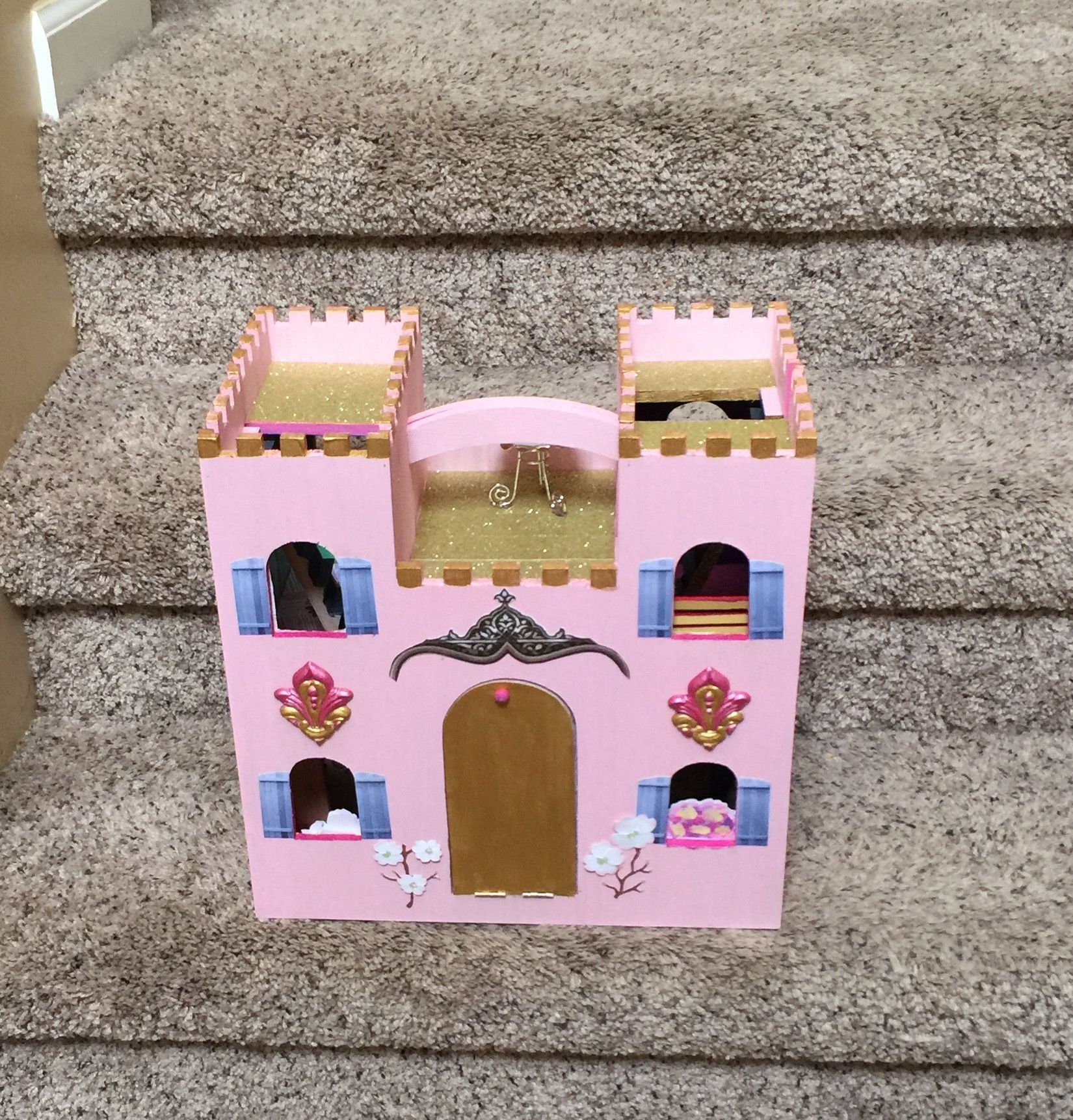 Michaels Wooden Castle Decorated Wooden Castle Castle Crafts