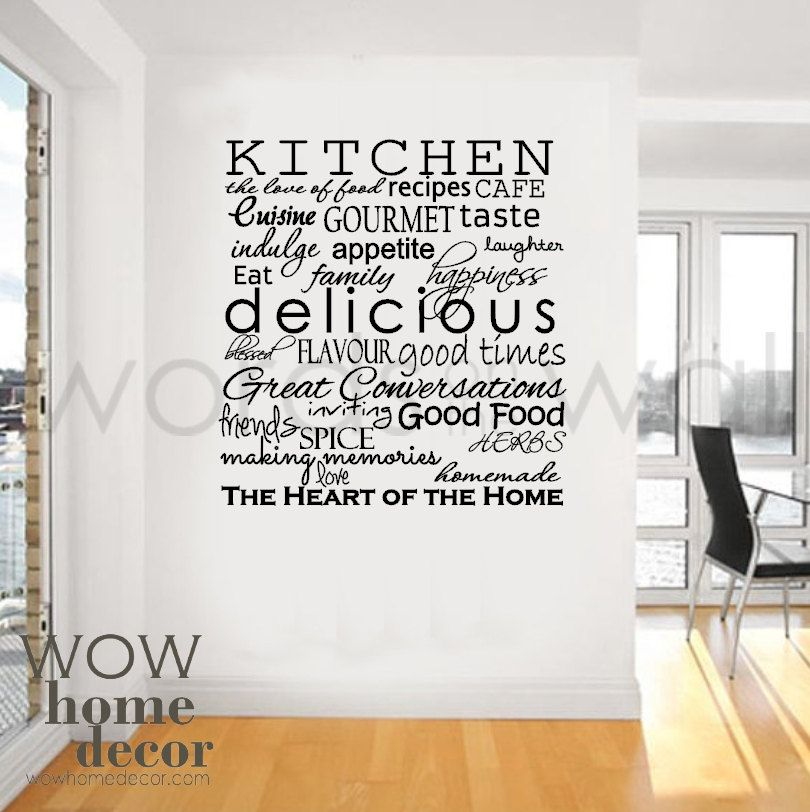 vinyl wall sticker art - kitchen words. inspirational words for the