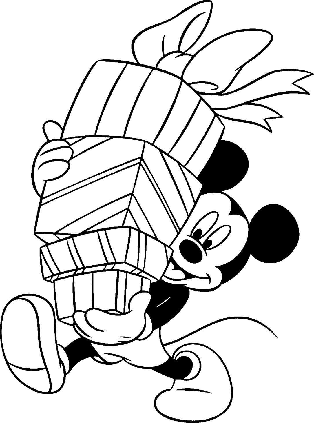disney christmas coloring pages mickey mouse holding gifts