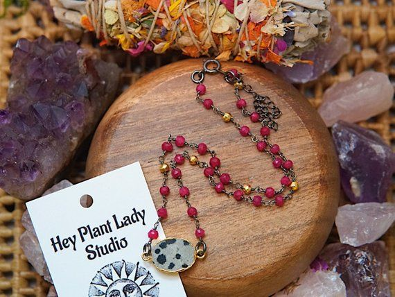 Passion- Ruby Choker, Ruby Jewelry, Rosary Jewelry,Dalmatian Jasper Necklace, Rosary Choker, Gift for her, Christmas Gift #rosaryjewelry