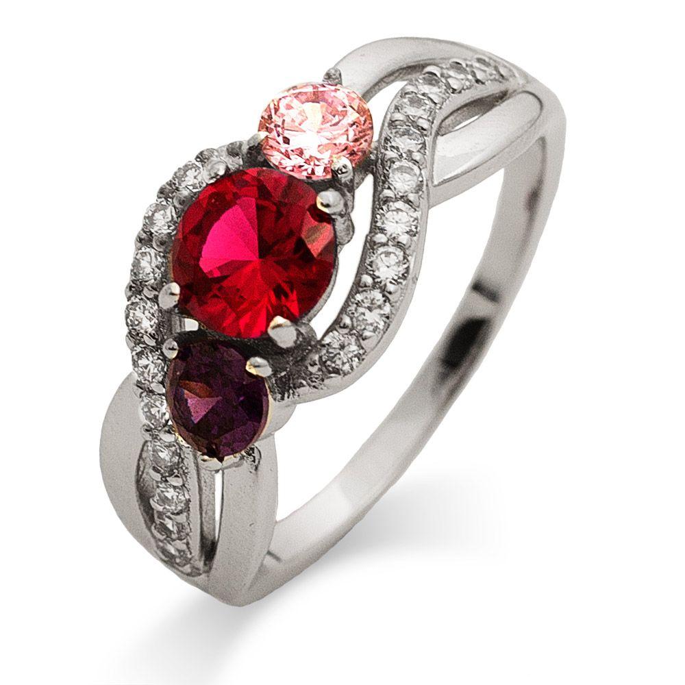 3 Stone Infinity Swirl Custom Birthstone Mother S Ring In