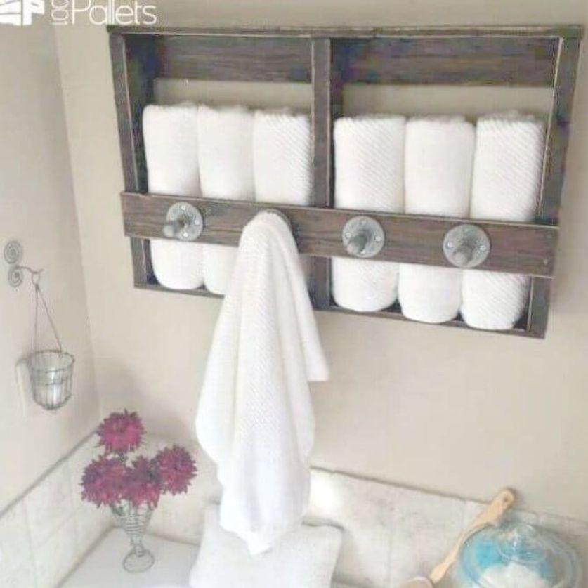 15 Pallet Projects For Bathroom You Can Diy With Reclaimed Wood Diy Crafts Diy Towel Rack Diy Towels Towel Rack