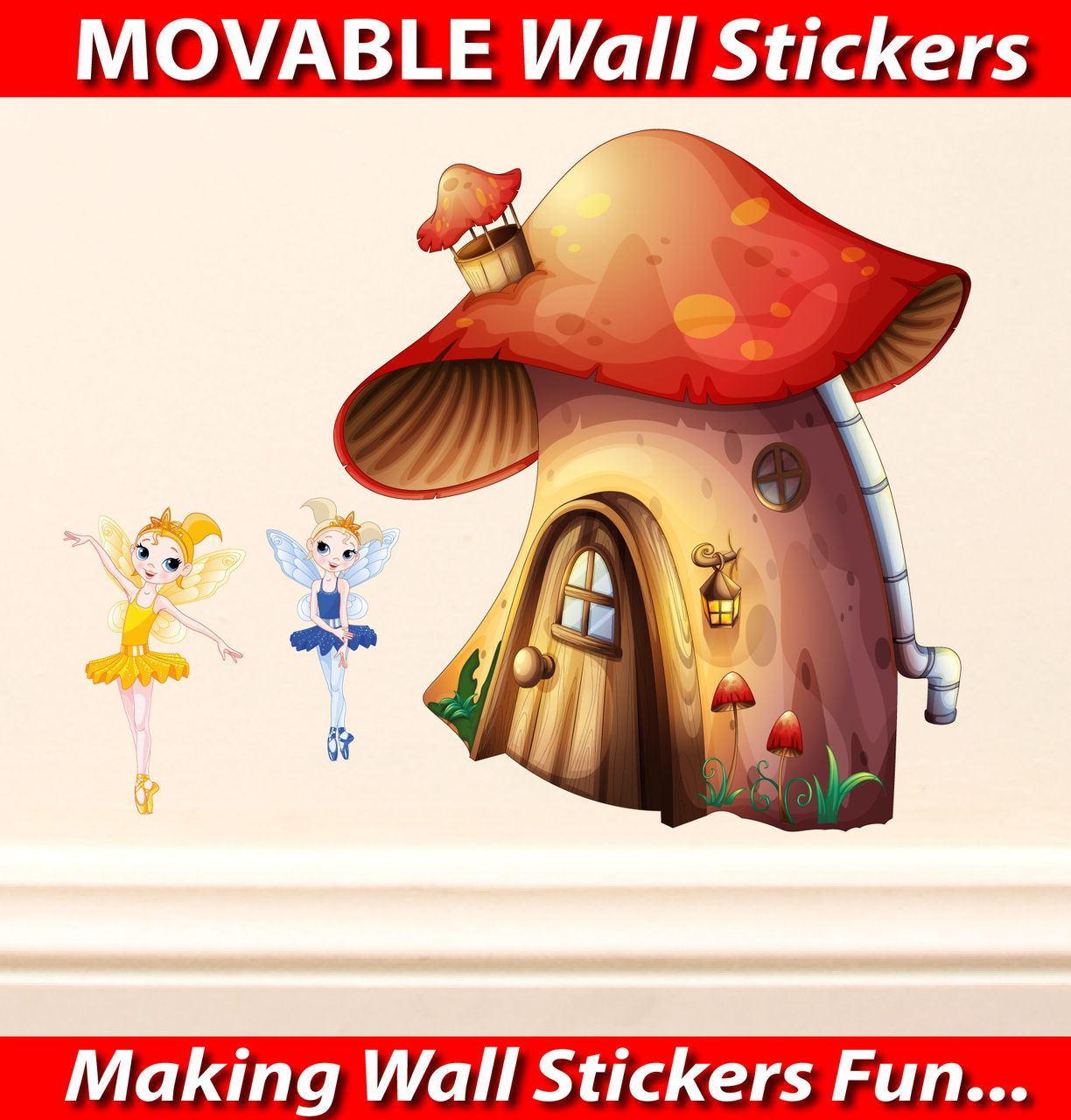 Fairies house wall stickers totally movable wall